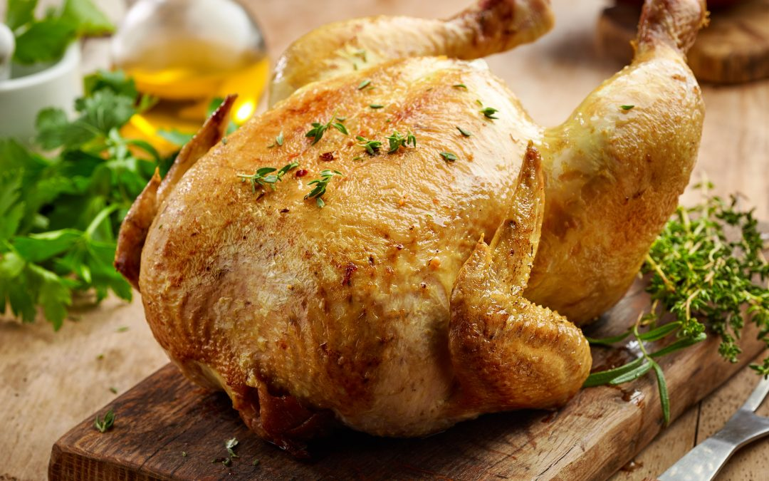 Roasted Chicken Marinated with Lemon, Mint, and Parsley