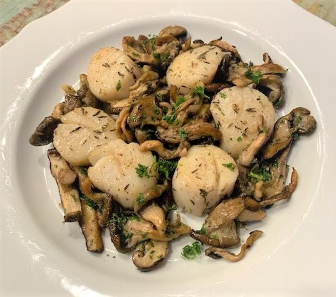Grilled Scallops with Wild Mushroom Sauté