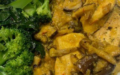 Roasted Chicken with Wild Mushroom-Saffron Sauce