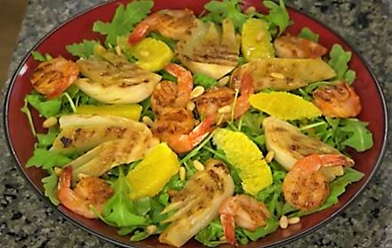Arugula Salad with Grilled Shrimp and Fennel